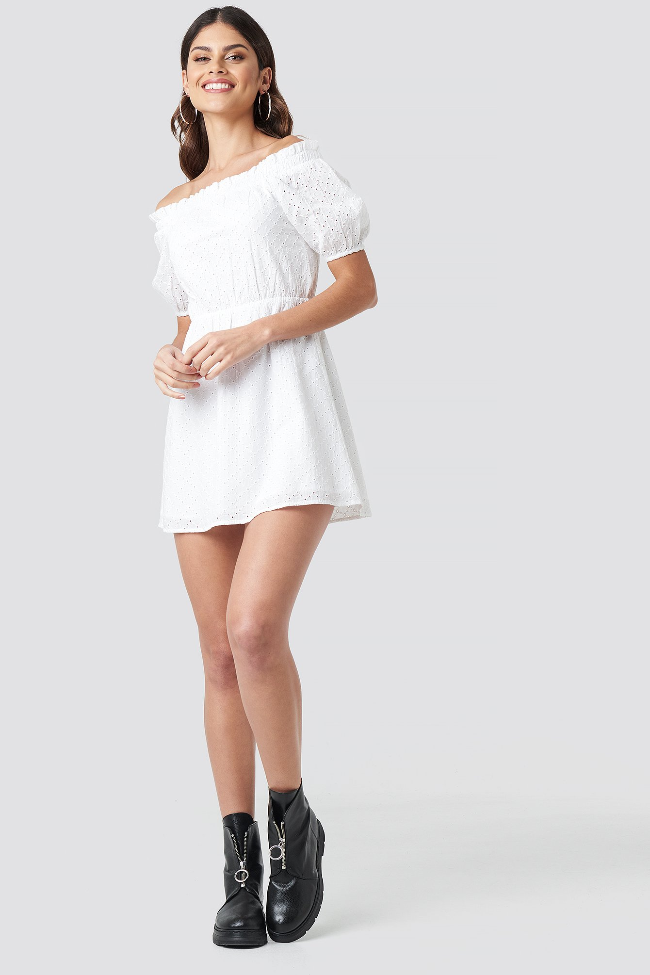 Off Shoulder Puffy Sleeve Dress NA-KD.COM