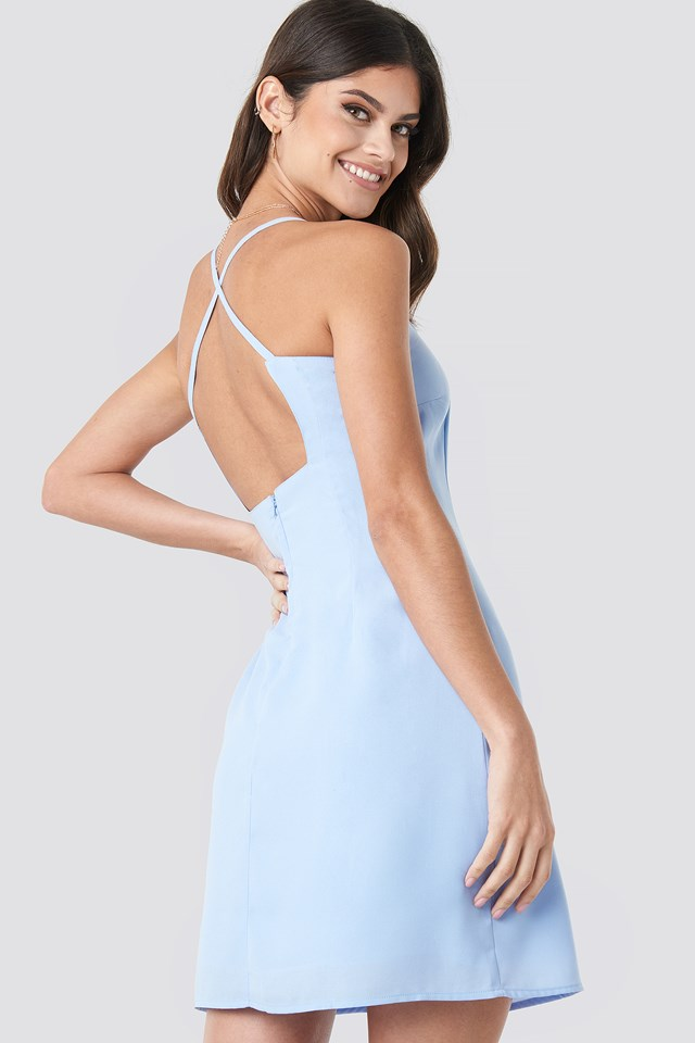 Open Back Midi Dress Light Blue