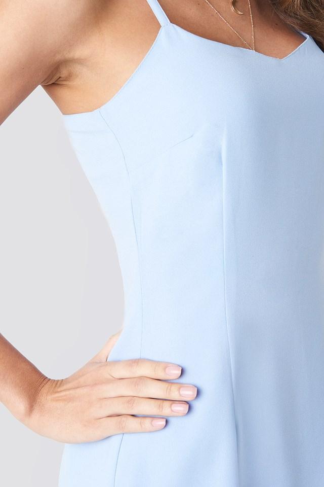Open Back Midi Dress Light Blue