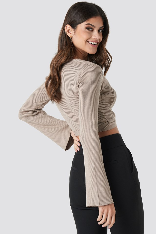 Ribbed Wrap Top Taupe