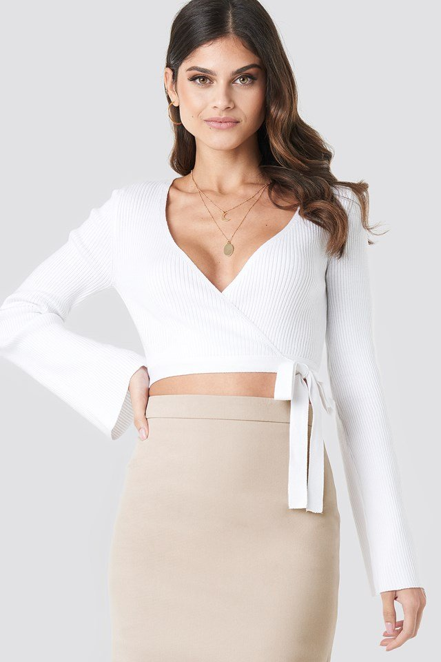 Ribbed Wrap Top White