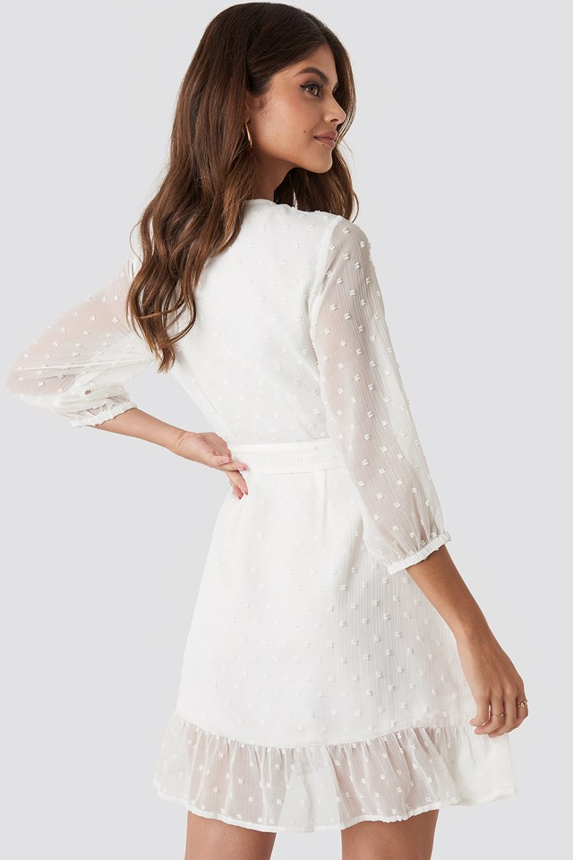 Balloon Sleeve Tied Waist Dress White