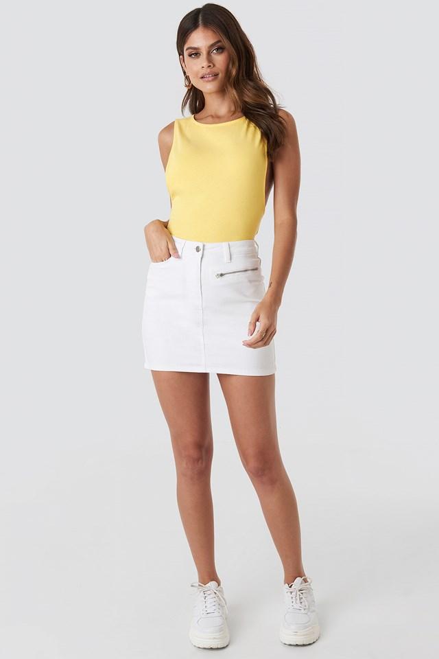 Denim Mini Skirt White