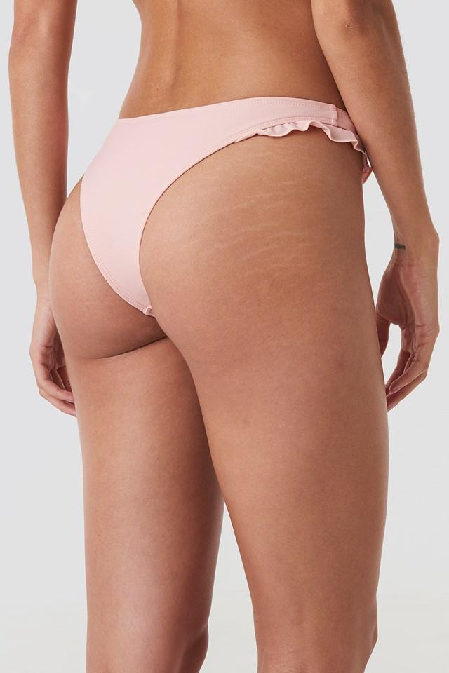 Frill Detail Bikini Bottom Pink