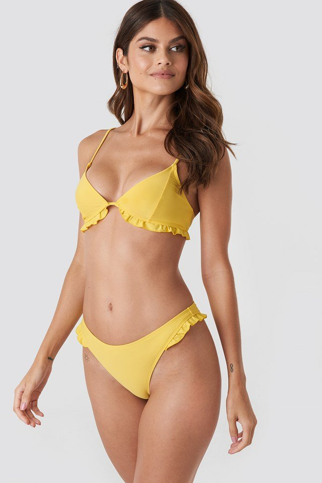 Frill Detail Bikini Top Yellow