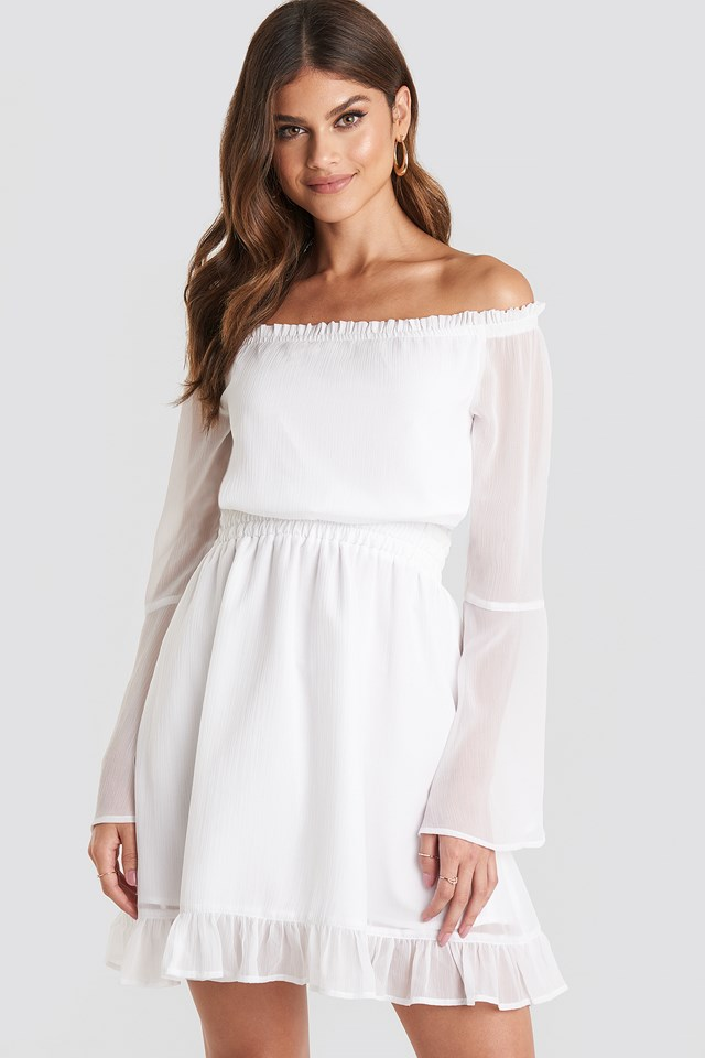 Off Shoulder Mini Dress White