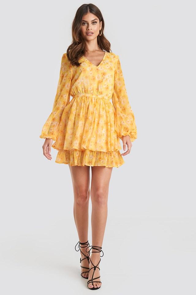 Open Back V-neck Dress Yellow Flower