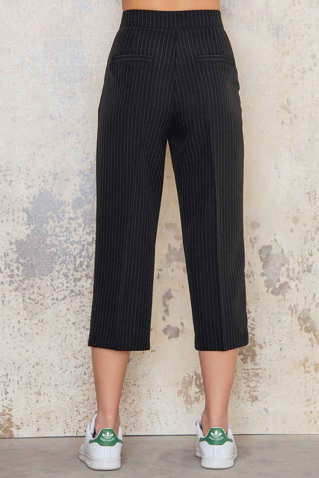 Pinstriped Culotte Pants Black