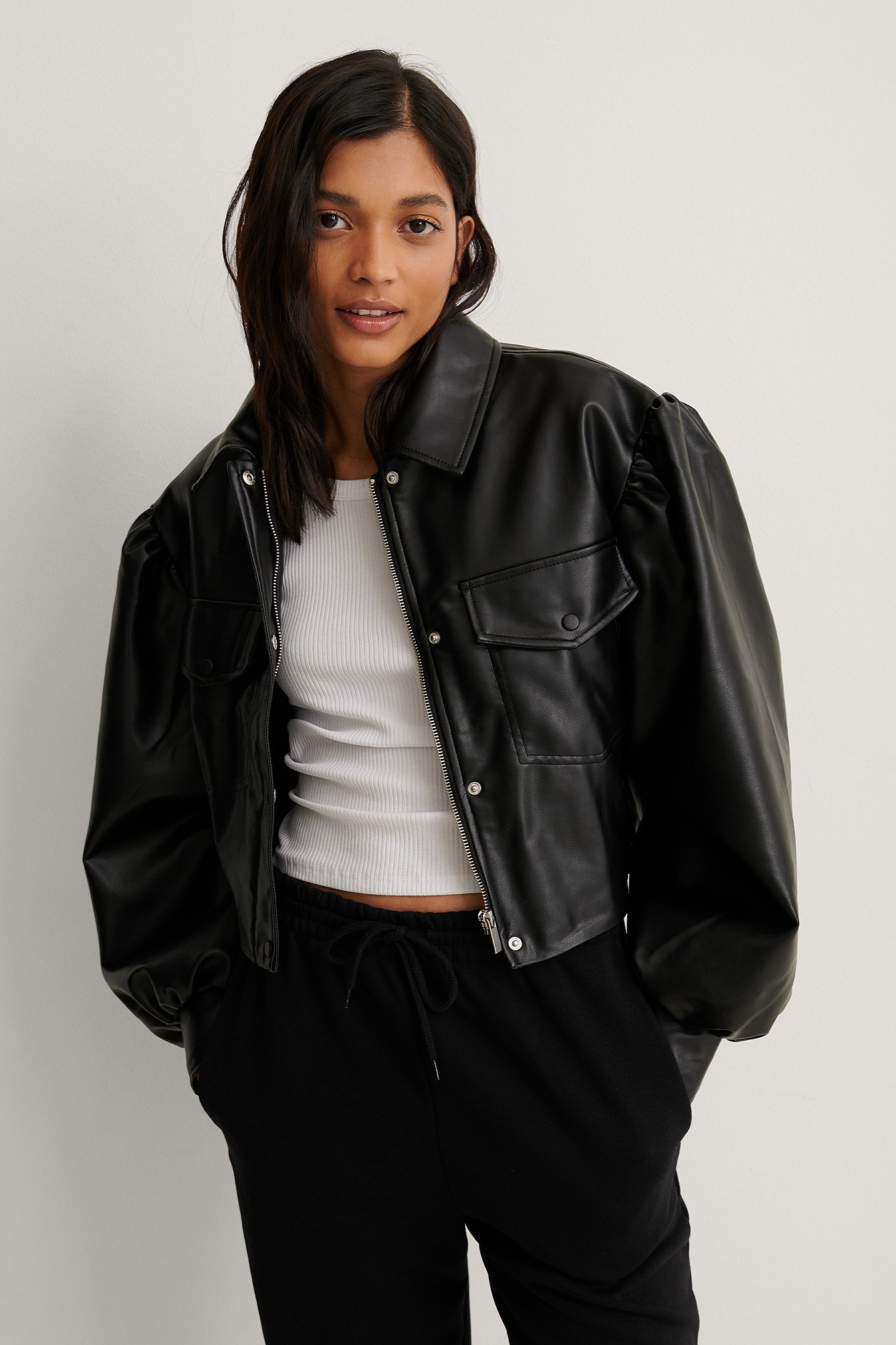 Black Puff Sleeve Cropped PU Jacket