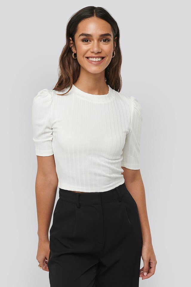 Puff Sleeve Cropped Ribbed Top Offwhite