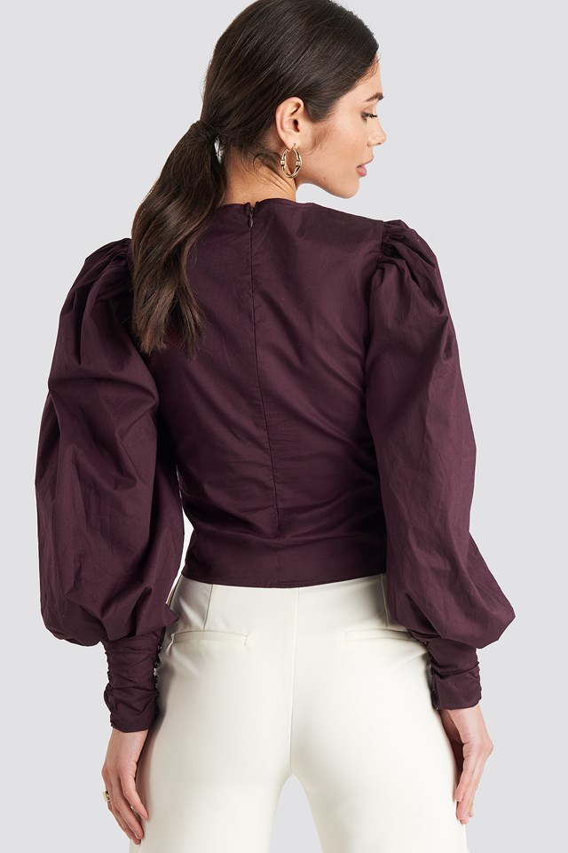 Puff Sleeve Fitted Top Burgundy