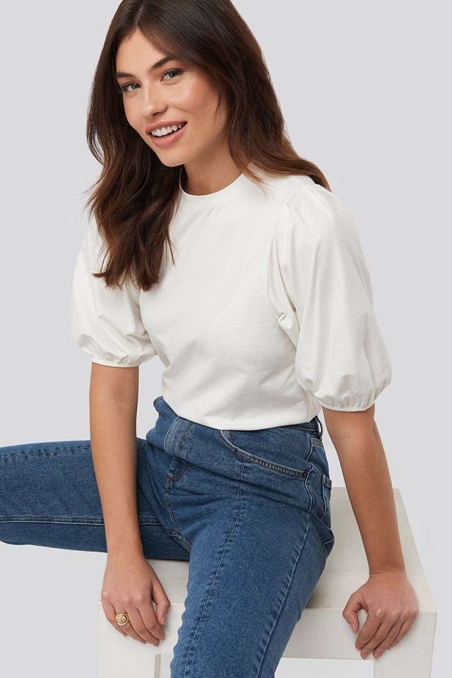 Puff Sleeve Jersey Top Offwhite