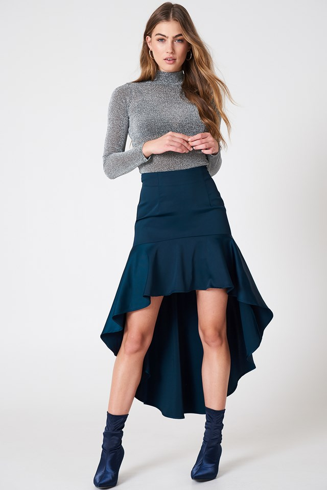 Asymmetric Frill Skirt Dark Blue