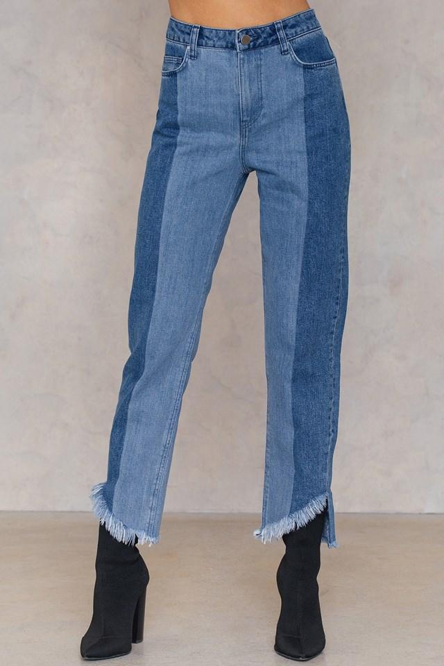 Asymmetric Hem Jeans Blue Combo