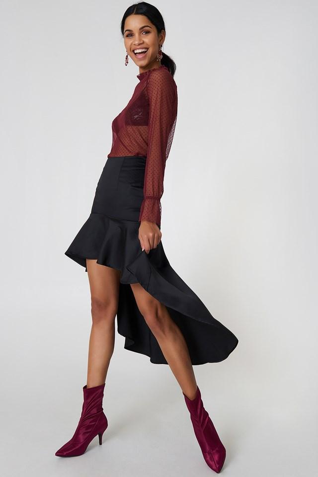 Asymmetric Frill Skirt Black