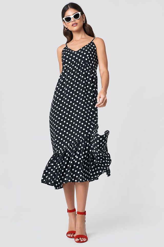 Dot Frill Dress Black/White dots