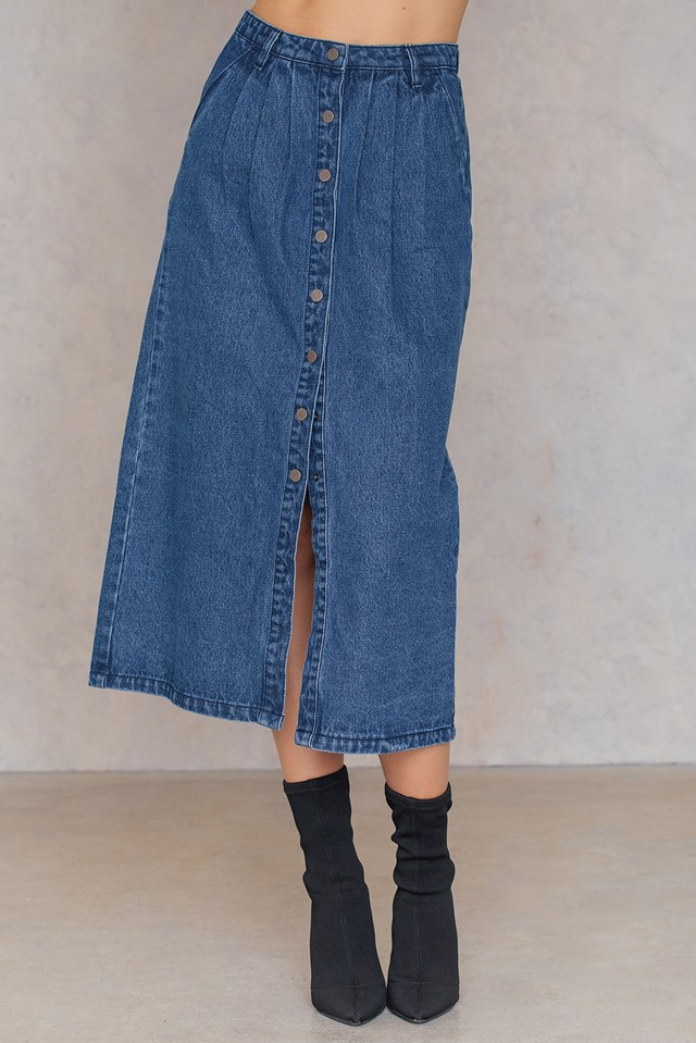 Front Button Denim skirt Dark Blue