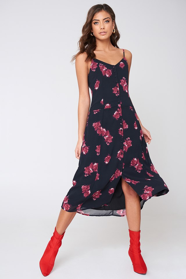 Front Button Print Dress Red Print