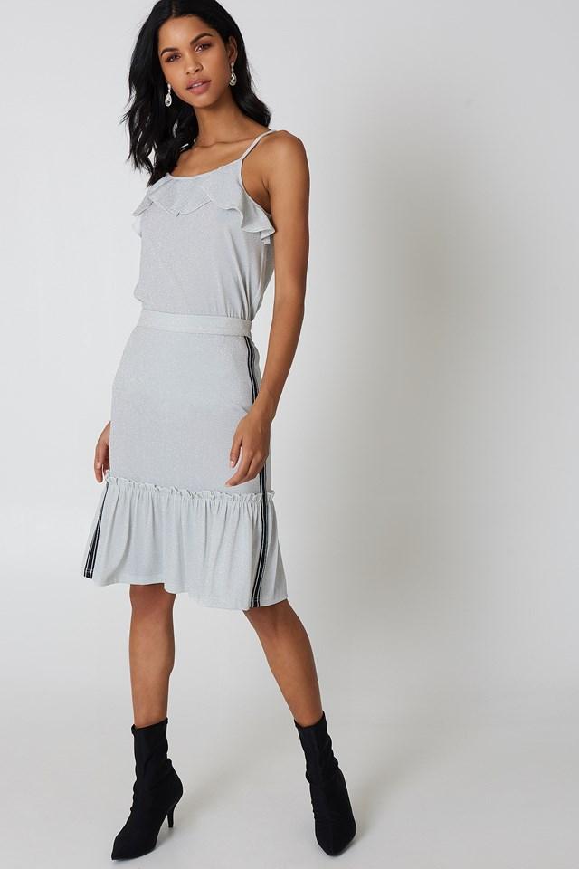 Glitter Frill Skirt Silver