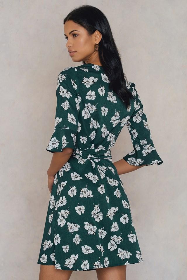 Green Flower Wrap Dress Green