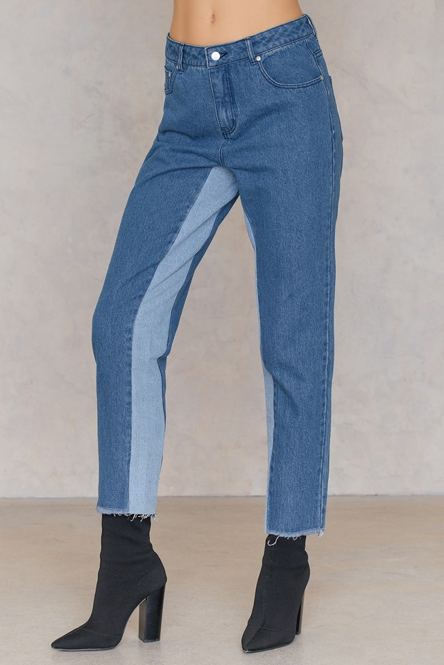 High Waist Two Toned Jeans Blue Denim