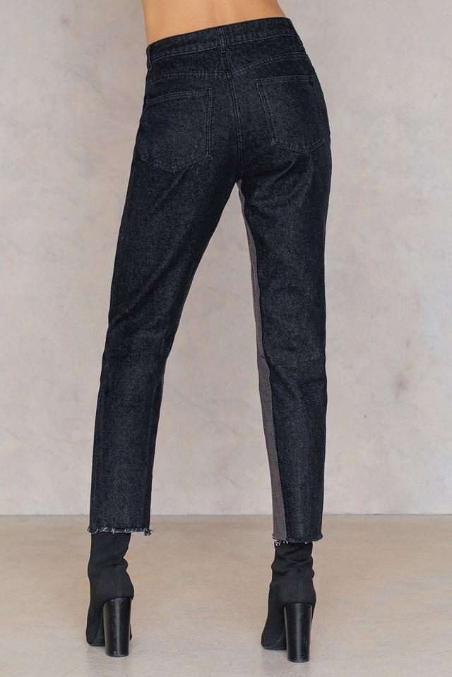 High Waist Two Toned Jeans Black Denim