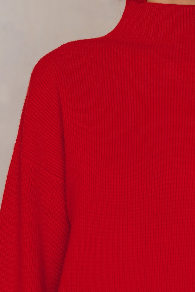 Knitted Rib Sweater Red