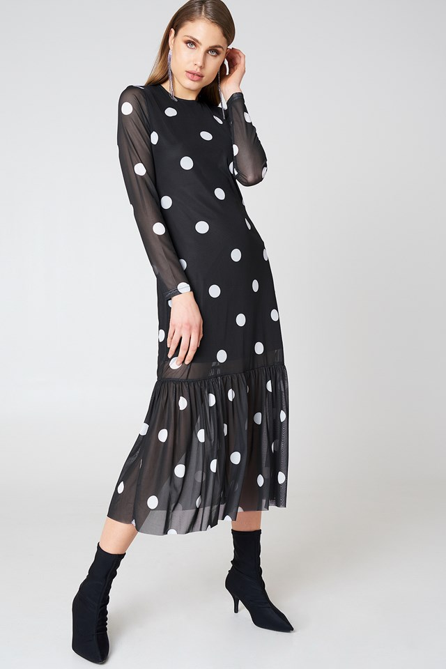 Long Dot Dress Black/White