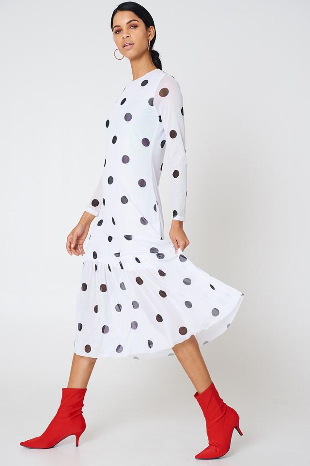 Long Dot Dress White/Black