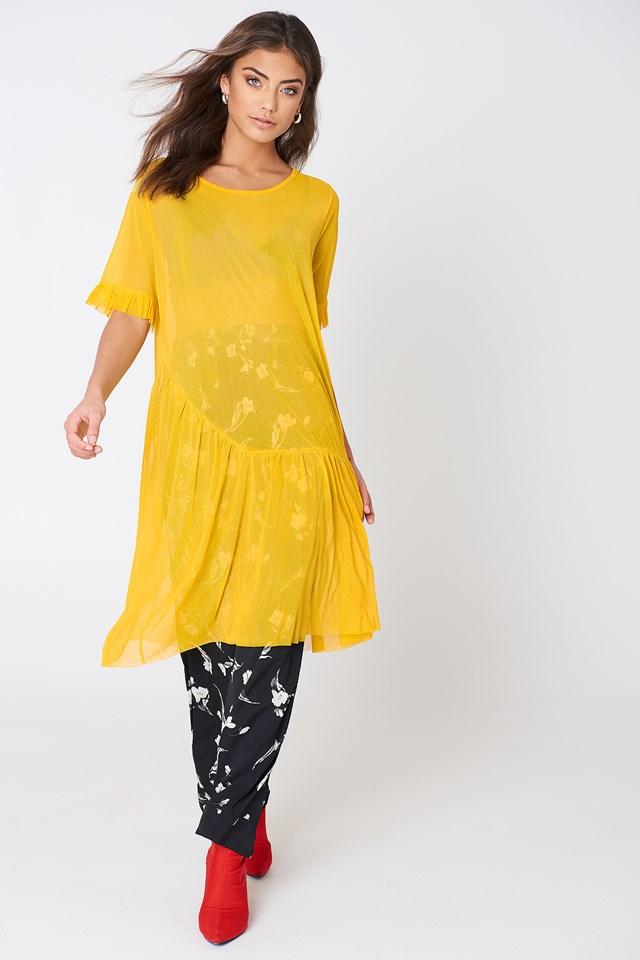 Mesh Frill Sleeve Dress Mustard