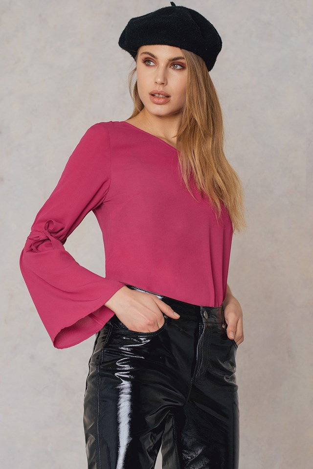 One Sleeve Knot Top Pink