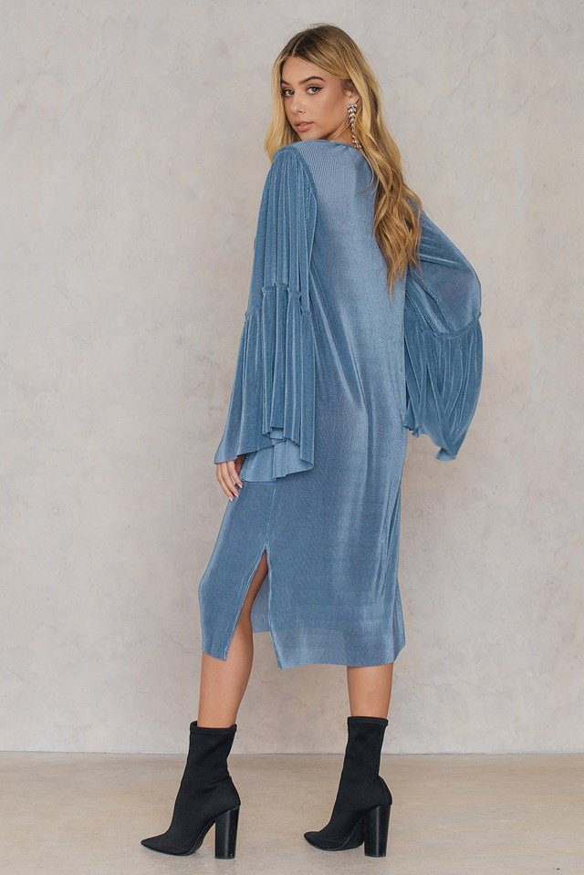 Plisse Wide Sleeve Dress Stone Blue
