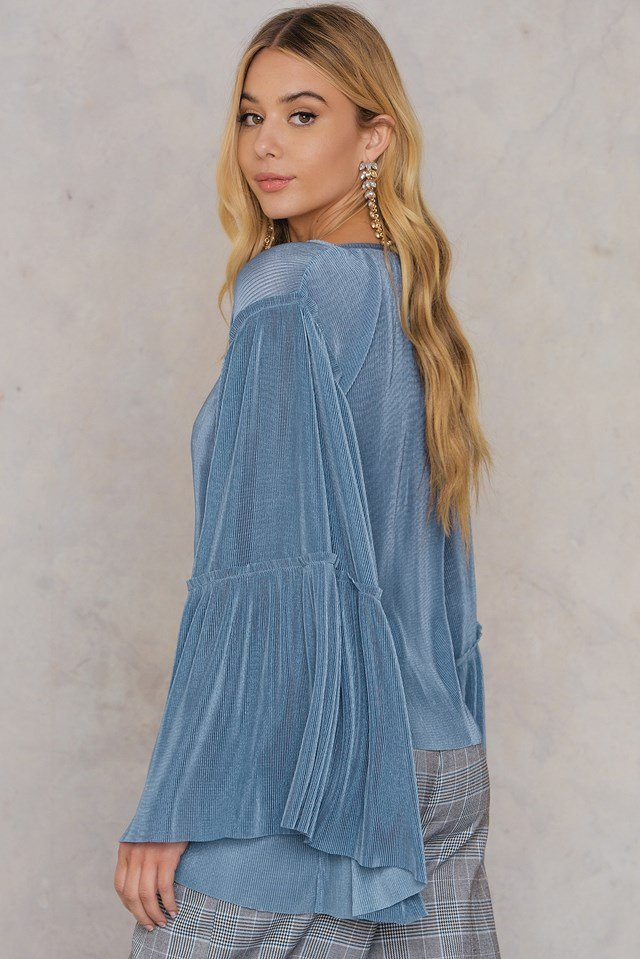Plisse Wide Sleeve Top Stone Blue