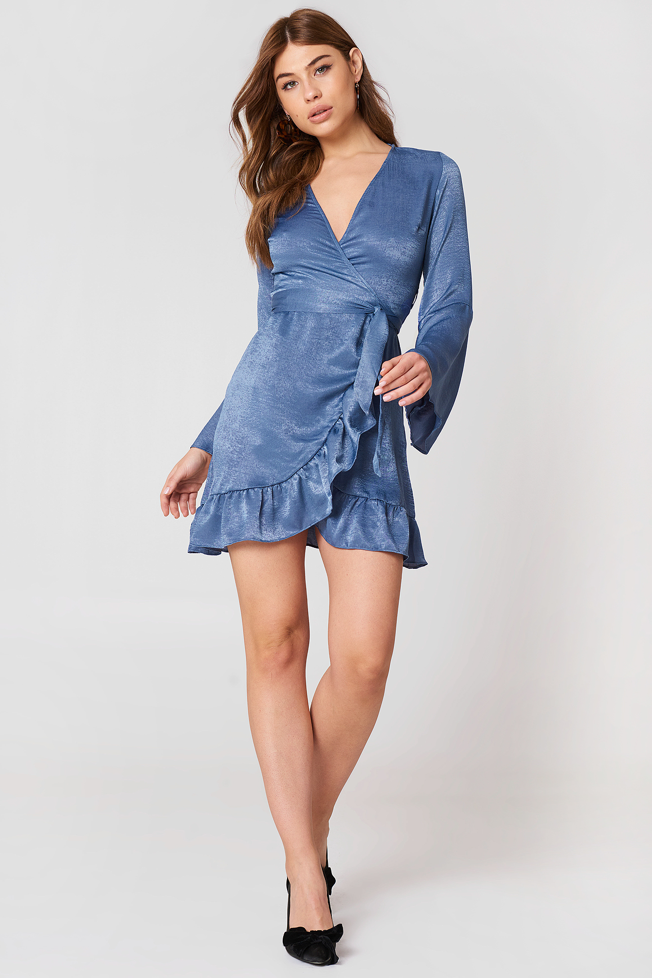 Satin Wrap Dress NA-KD.COM