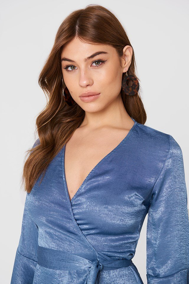 Satin Wrap Dress Dusty Blue