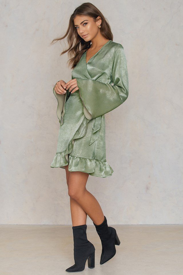 Satin Wrap Dress Duck Green