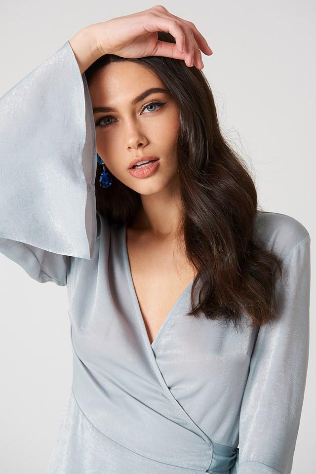 Satin Wrap Dress Silver