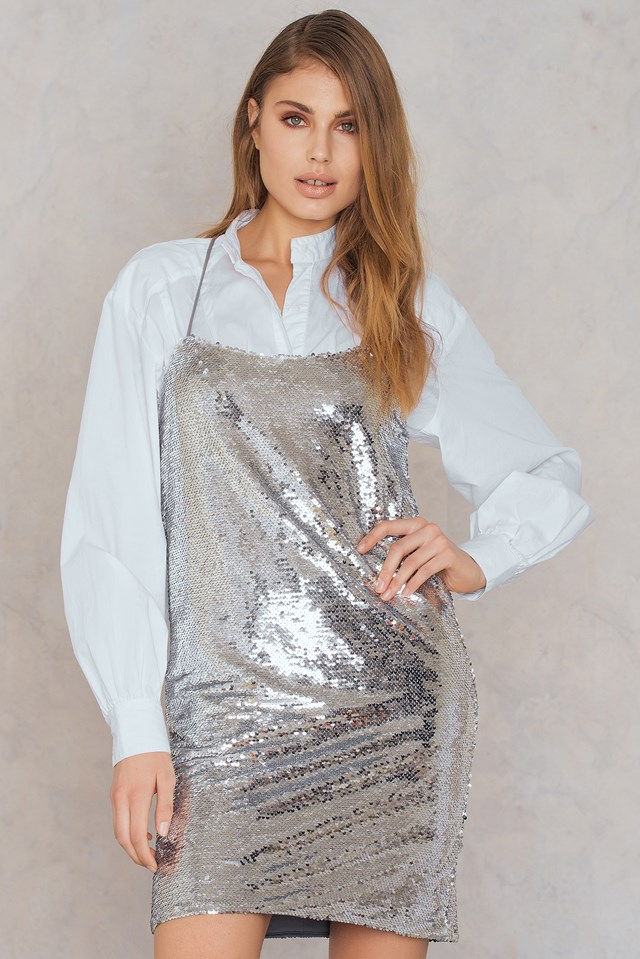 Sequin Cross Back Dress Silver