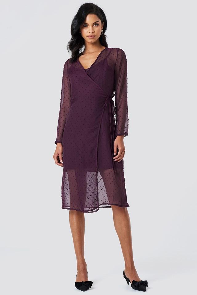 Swiss Dot Wrap Dress Purple