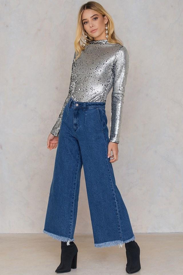 Wide Raw Hem Jeans Dark Blue