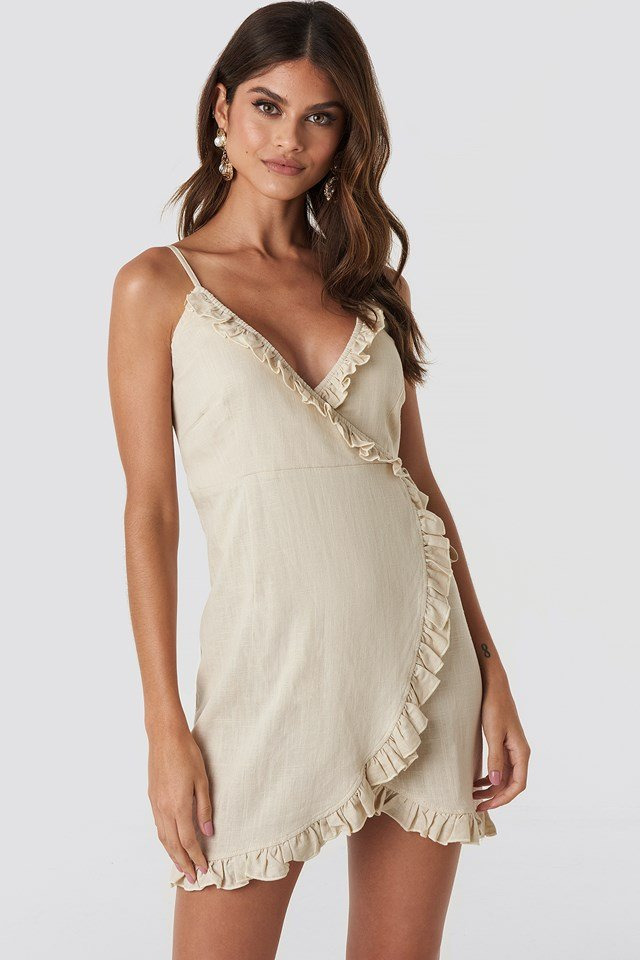 Overlapped Linen Mix Frill Dress Beige