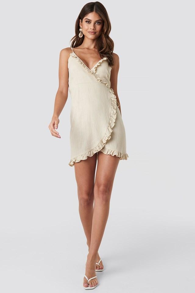 Overlapped Linen Mix Frill Dress Beige