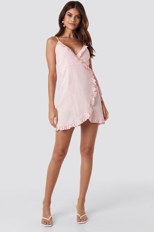 Overlapped Linen Mix Frill Dress Dusty Pink