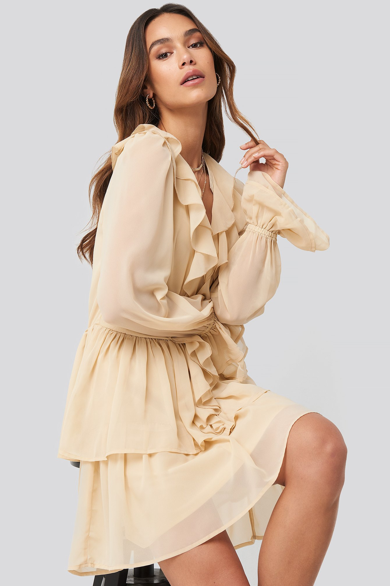 Queen Of Jetlags X Na-kd Chiffon Flounce Dress Beige