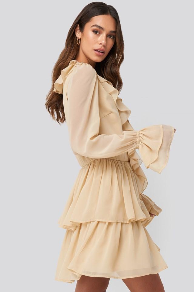 Chiffon Flounce Dress Beige