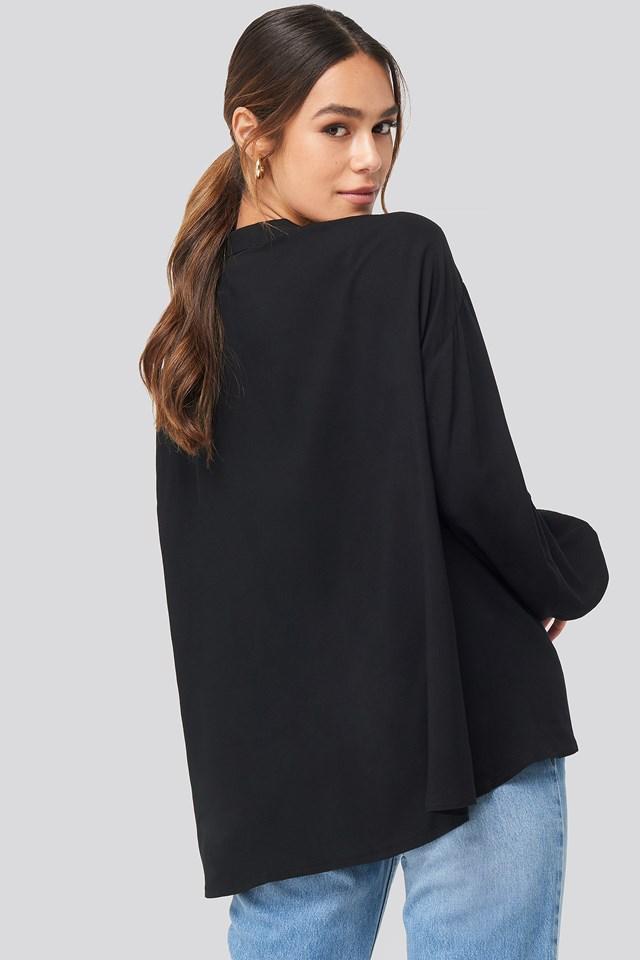 Deep Neck Blouse Black