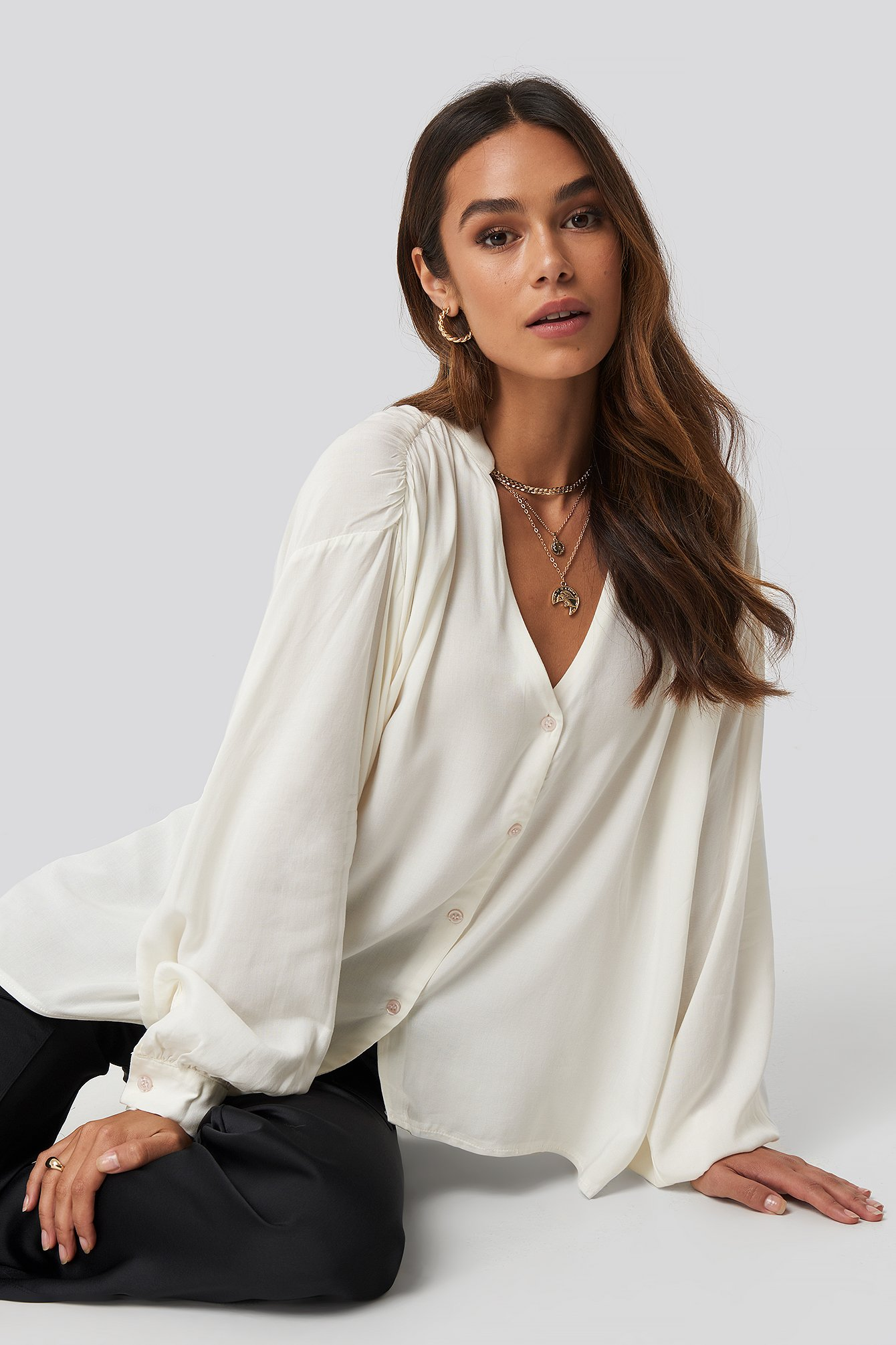 Queen Of Jetlags X Na-kd Deep Neck Blouse - White In Offwhite