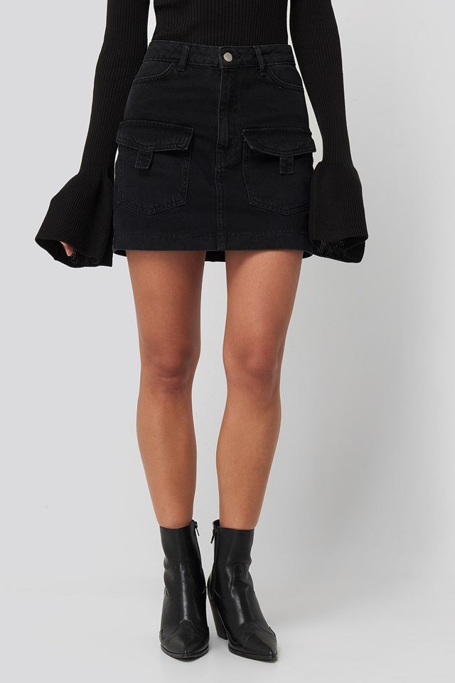 Denim Cargo Skirt Black