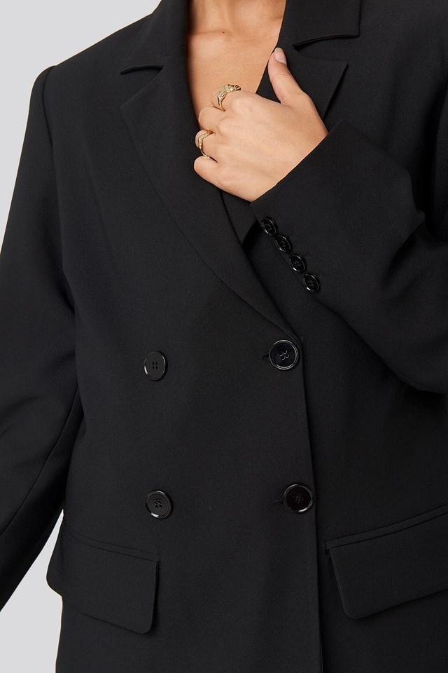 Double Button Blazer Black