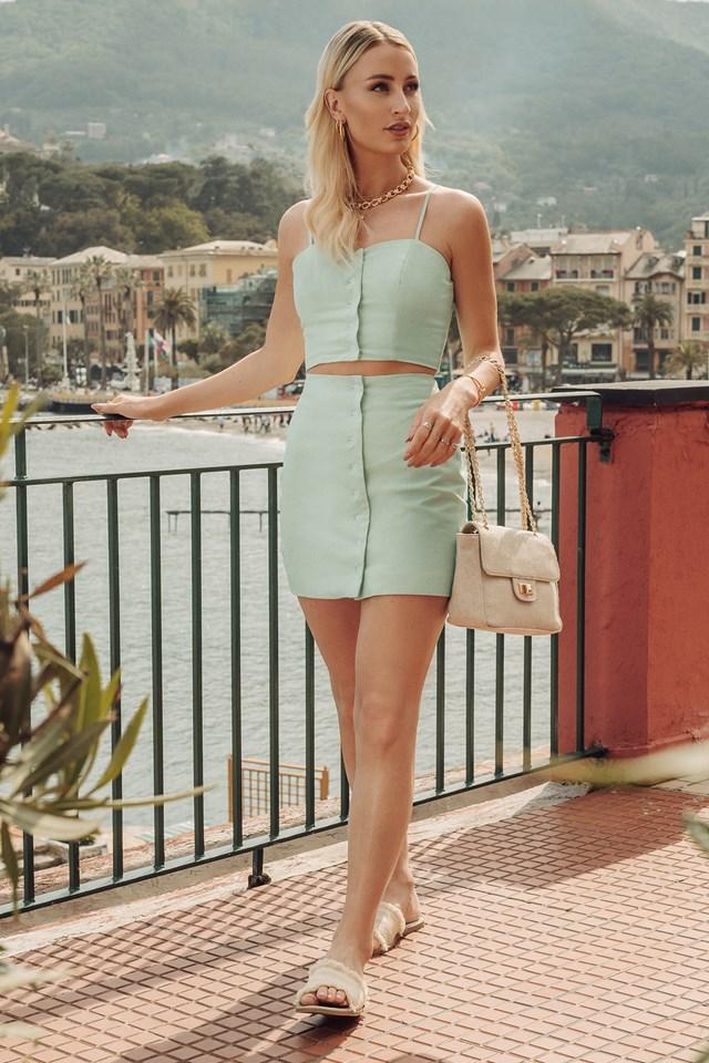 Front Button Linen Mix Skirt Dusty Light Green